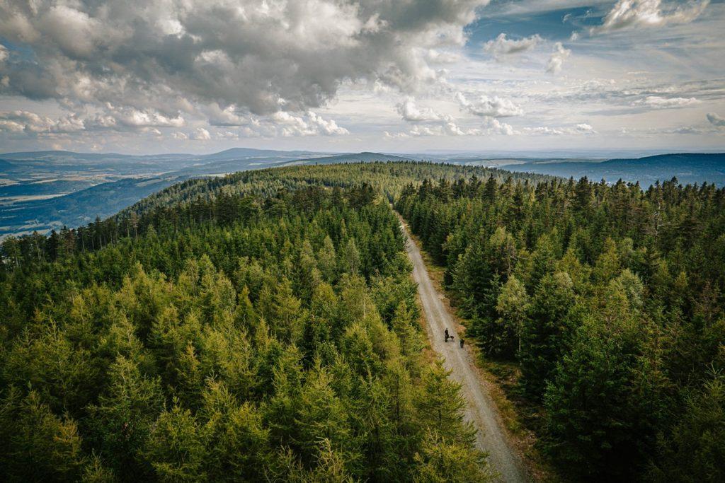 Widok z wieży widokowej Jagodna - Góry Bystrzyckie